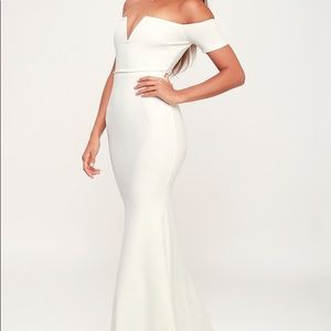 Lulus White Off-The-Shoulder Maxi Mermaid Dress